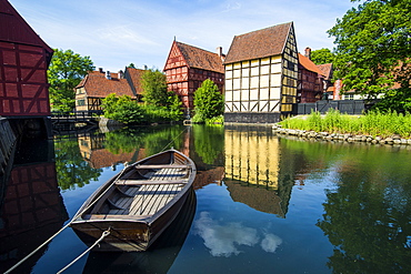 Little boat in a pond in the Old Town, Den Gamle By, open air museum in Aarhus, Denmark, Scandinavia, Europe