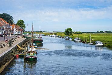 Little water channel in Ribe, Denmark's oldest surviving city, Jutland, Denmark,  Scandinavia, Europe