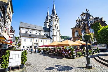 Saint Severus's Church on the market square of Boppard, UNESCO World Heritage Site, Rhine Valley. Rhineland-Palatinate, Germany, Europe