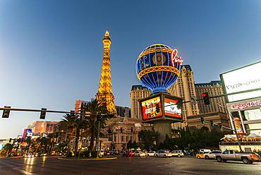 Eiffel Tower in the Paris Las Vegas Hotel at night, Las Vegas, Nevada, United States of America, North America