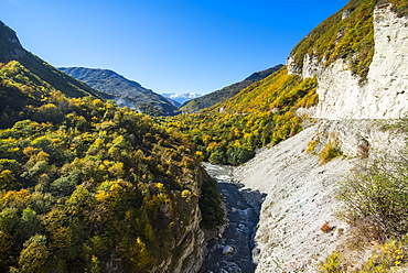 Road leading through a beautiful gorge on the Argun River in the mountains of Chechnya, Caucasus, Russia, Europe