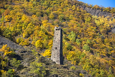 Chechen watchtower in the Chechen Mountains near Itum Kale, Chechnya, Caucasus, Russia, Europe