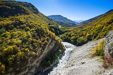 The Caucasian Mountains in fall with the Argun River, Chechnya, Caucasus, Russia, Europe