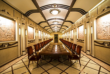 Underground Wine tasting area in the cellars of Cricova, one of the largest wineries of the world, Moldova, Europe