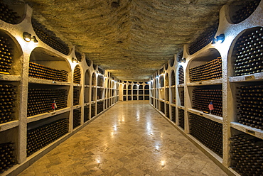 Selected wines from the past in the Wine tasting area in the cellars of Cricova, one of the largest wineries of the world, Moldova, Europe