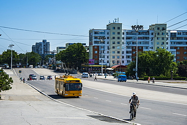 Central street in the center of Tiraspol, capital of the Republic of Transnistria, Moldova, Europe