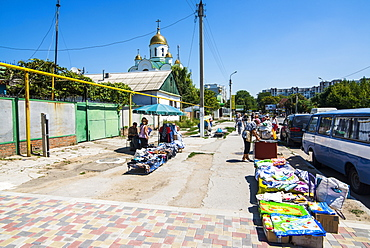 Local market in Tiraspol, capital of the Republic of Transnistria, Moldova, Europe