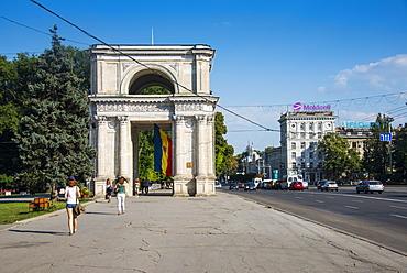 Arc de Triomphe in the center of Chisinau, Moldova, Europe