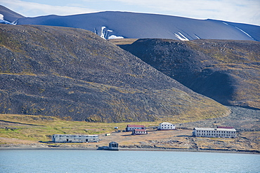 View over the old Russian coalmine in Colesbukta, Svalbard, Arctic, Norway, Scandinavia, Europe