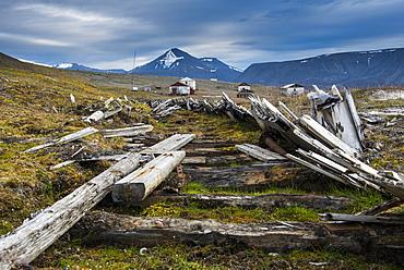 Wooden train tracks in the abandonend Russian coalmine, Colesbukta, Svalbard, Arctic, Norway, Scandinavia, Europe