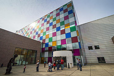 Colourful glases in the Museum of Modern and Contemporary Art, Strasbourg, Alsace, France, Europe