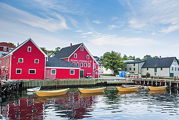 Little rowing boat anchored in the harbour of the old town of Lunenburg, UNESCO World Heritage Site, Nova Scotia, Canada, North America