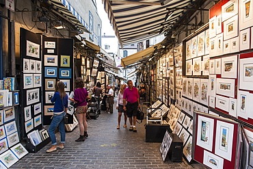 Art galleries in the old town of Quebec City, Quebec, Canada, North America