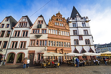 Main market in the center of the medieval part of Trier, Moselle Valley, Rhineland-Palatinate, Germany, Europe