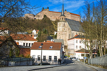 Renaissance castle of Plassenburg with church of St..Petri in the foreground, Kulmbach, Upper Franconia, Bavaria, Germany, Europe