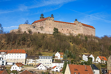 Renaissance castle of Plassenburg with church of St. Petri in the foreground, Kulmbach, Upper Franconia, Bavaria, Germany, Europe