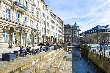 Water channel in the center of Bayreuth, Upper Franconia, Bavaria, Germany, Europe