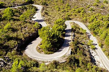 Winding road leading to Ermita de Betlem, Arta, Majorca, Balearic Islands, Spain