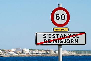 Sign that divides s'Estanyol de Migjorn beach in Llucmajor and sa Rapita beach in Campos, Majorca, Balearic Islands, Spain