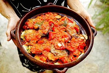 Tumbet, traditional dish from Mallorca, Majorca, Balearic Islands, Spain