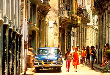 Old classic american car (taxi) parked in Old Havana, Cuba