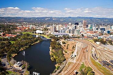 River Torrens, Rail Network, and CBD, Adelaide, South Australia, Australia - aerial