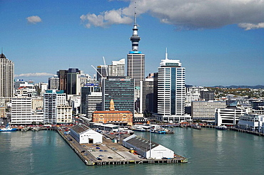 Auckland Waterfront, Ferry Terminal, CBD and Sky Tower, North Island, New Zealand - Aerial