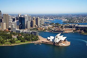 Aerial view of Sydney Opera House, Royal Botanic Gardens and CBD