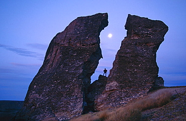 Rock formations, Dunstan mountains, South Island, New Zealand