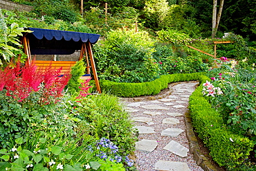 Covered wooden swing beside Red Astilbe w/ stepping stone path bordered by dwarf Boxwood hedges [Astilbe cv.; Buxus sempervirens], Bowes, Bellingham, WA.