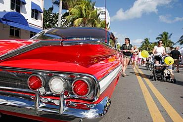 1960 Chevrolet, red, classic car, Art Deco Weekend, Ocean Drive, Miami Beach, Florida, USA