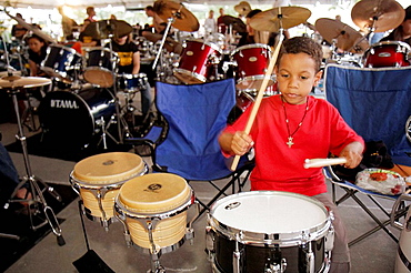 Florida, Hollywood, Arts Park, The Big Beat, event, attempt, break, Guiness Book, world record, most drummers, same beat, boy, drum set, drums, playing, Latin drums, percussion instrument, music, sticks, Hispanic, boy, student,