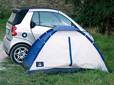 Car camper in Cortona, Italy