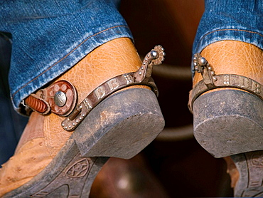 Spurs on cowboy boots in Tucson, Arizona