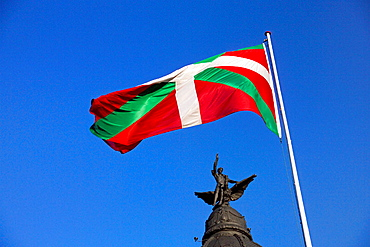 Basque flag, Old town, Bilbao, Biscay, Basque Country, Spain