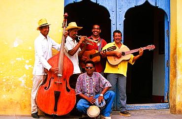 Cuban band playing in a street of Trinidad de Cuba, Cuba