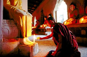 Monk in temple, Amarapura, Mandalay, Myanmar (Burma)