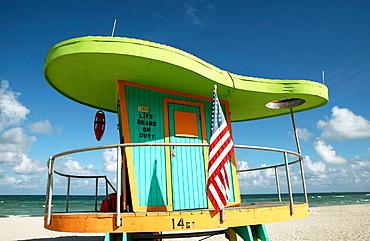 Usa, Florida, Miami Beach, South Beach, Art deco district, Lifeguard post in south beach