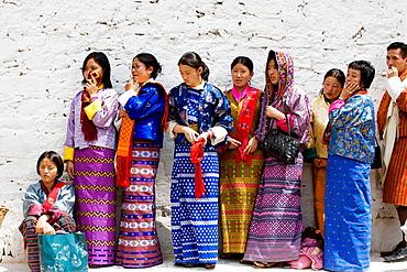 Bhutan, Thimpu, Thimpu Dzong Monastery, Buddhist Festival (Tsechu), Bhutanese women