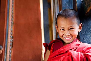 Bhutan, Paro, Paro Dzong Monastery, Little Buddhist monk