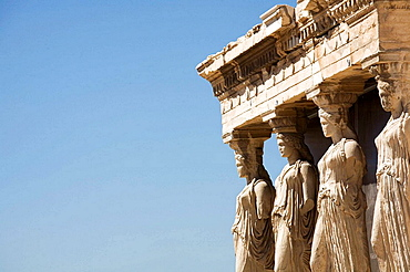 Porch of the Maidens, cariathides of the Erechtheion, Acropolis, Athens, Greece