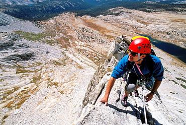 Climber on the West Ridge of Mt, Conness, Tuolumne Meadows area, Yosemite National Park, California