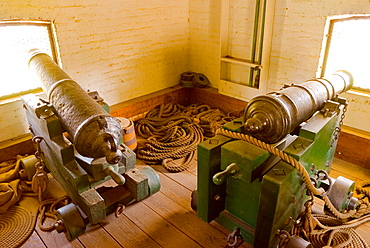 Cannons in the bastion, Sutter's Fort State Historic Park, Sacramento, California, USA