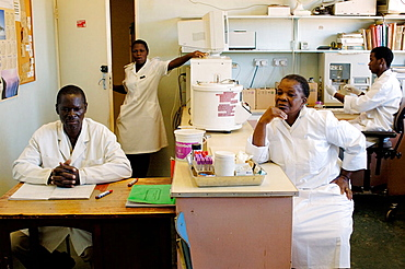The Howard Hospital Laboratory staff are busy and use fairly modern lab equipment, This day the department is waiting for a Swedish donation of a new chemical analyzer, The Howard Hospital is a Salvation Army facily based at Concession, Zimbabwe