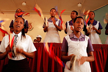 The Salvation Army Howard High School holds the last Sunday service of the school term, Some prayers, some sermons and then children go to the front and sing a song, The High School is in Zimbabwe