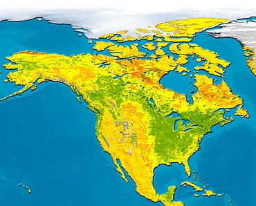 Satellite image of North America