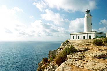 La Mola lighthouse in Punta des Far, Formentera, Balearic Islands, Spain