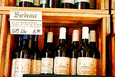 French Bordeaux wines at Viktualienmarkt, Munich, Germany