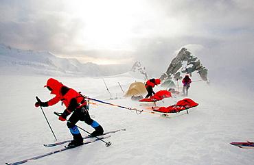 Setting out from camp, Manhauling sledges, Franz Josef Glacier, Westland NP, South Island, New Zealand