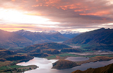 Sunset over Lake Wanaka, Mt, Aspiring in distance from Mt, Roy, Central Otago, New Zealand